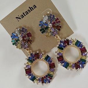 Natasha Gold Colorful Rhinestone Earrings Post
